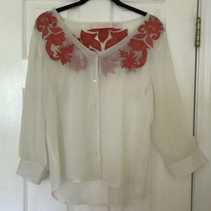 Tops - Sheer cream Lila Page Blouse